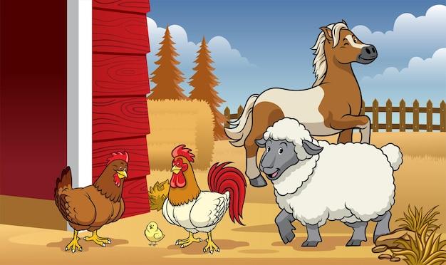 Fazenda de animais no celeiro