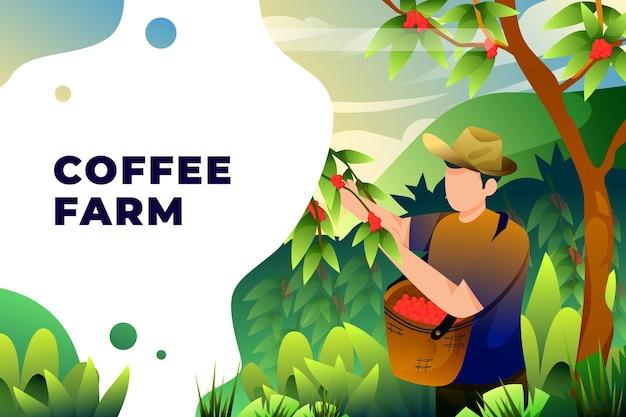 Fazenda de café - ilustração vetorial