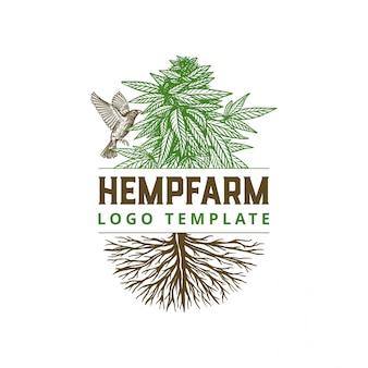 Fazenda de cânhamo desenhada mão com modelo de logotipo de pássaro