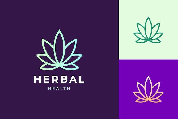 Fazenda de cannabis ou logotipo de folha de maconha para produtos médicos e farmacêuticos