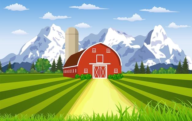 Fazenda de desenho animado, paisagem montanhosa de verão, celeiro vermelho em uma colina verde, paisagem plana de fazenda