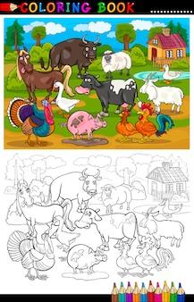 Fazenda de desenhos animados e animais de gado para colorir