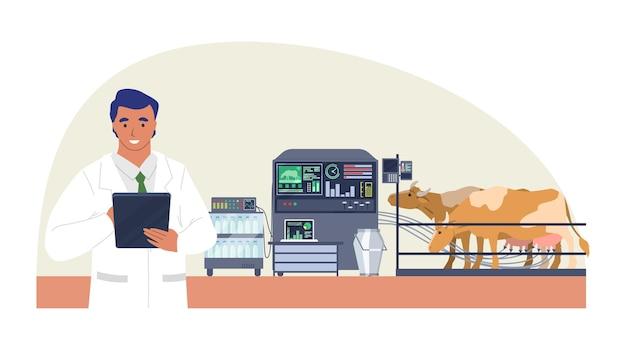 Fazenda de gado inteligente, ilustração plana. máquina de ordenha automática para vacas. iot, tecnologia de cultivo inteligente na agricultura