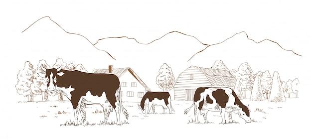 Fazenda de gado leiteiro. paisagem rural, esboço vintage de aldeia
