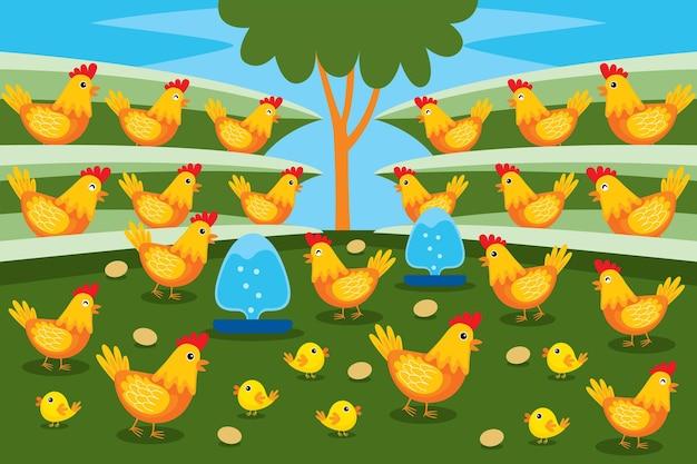 Fazenda de galinhas em estilo design plano