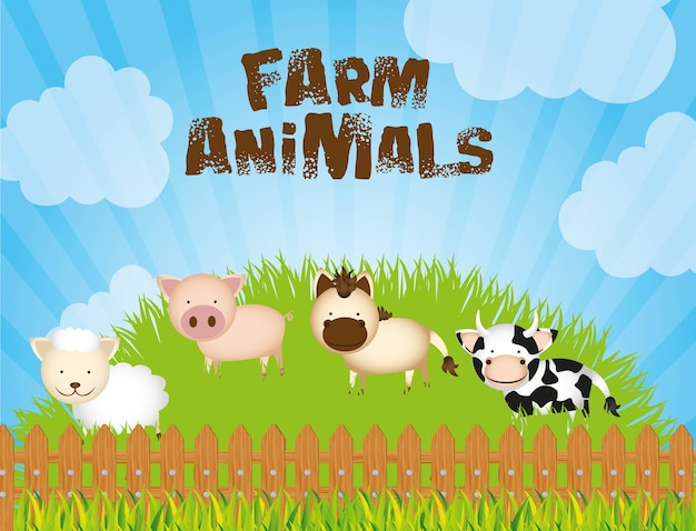 Fazenda de ilustração com vacas ovelha porco e cavalo na grama