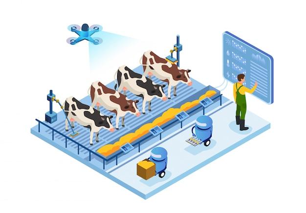 Fazenda de laticínios do futuro, vacas e operador, robôs
