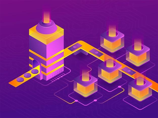 Fazenda de mineração de criptomoeda. criação de bitcoins. 3d isométrico