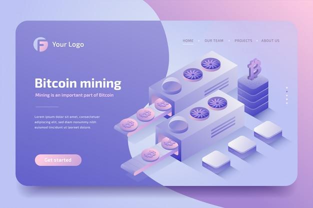 Fazenda de mineração de criptomoeda, tecnologia blockchain. isométrico