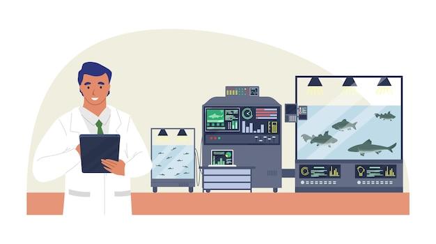 Fazenda de peixes inteligente, ilustração plana. muito, tecnologia de cultivo inteligente na agricultura.