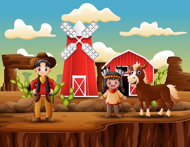Fazenda do oeste selvagem com cowboy e garota indiana