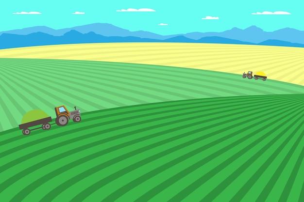 Fazenda e agricultura. paisagem rural com campo, árvores, grama, flores. eco área limpa com céu azul, montanhas e nuvens. aldeia no verão. ilustração em vetor plana.