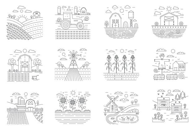 Fazenda e conjunto de ícones de linha de conceito de campos de agricultura agrícola.