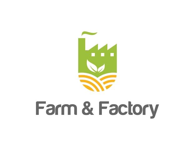 Fazenda e fábrica simples, elegante, criativo, geométrico, moderno, design de logotipo