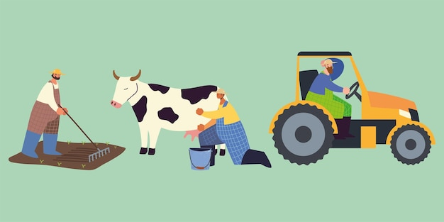Fazenda e fazendeiro agrícola com vaca trator e ilustração de trabalho de plantio