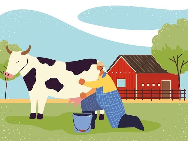 Fazenda e fazendeiro agrícola ordenha a ilustração da vaca