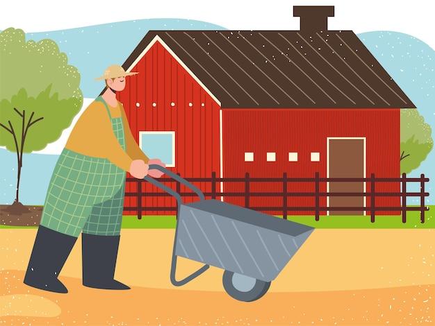 Fazenda e fazendeiro com ilustração de um celeiro de carrinho de mão