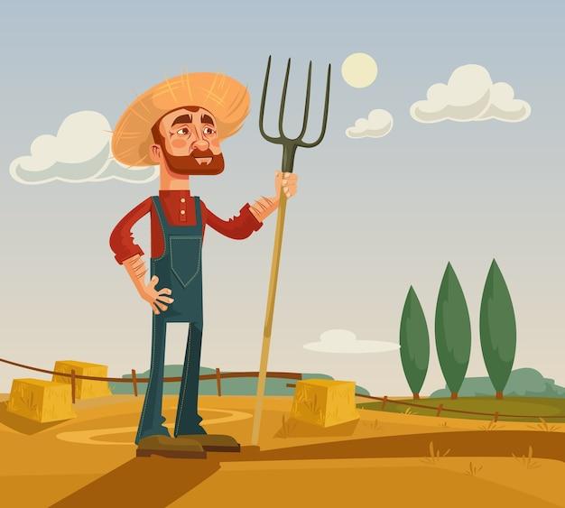 Fazenda e personagem de fazendeiro feliz.