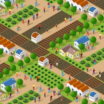 Fazenda ecológica rural de natureza isométrica com canteiros, estruturas e pessoas