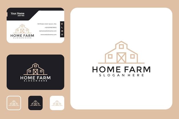 Fazenda em casa com design de logotipo de estilo de linha e cartão de visita