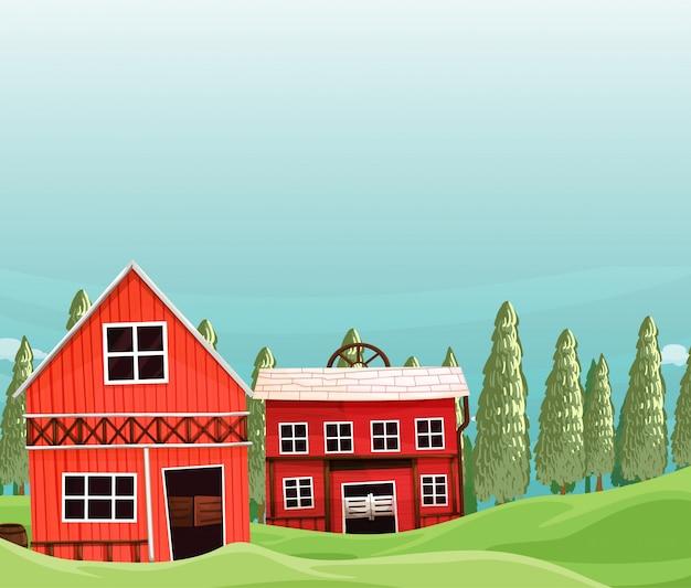 Fazenda em cena da natureza com celeiro e fazenda
