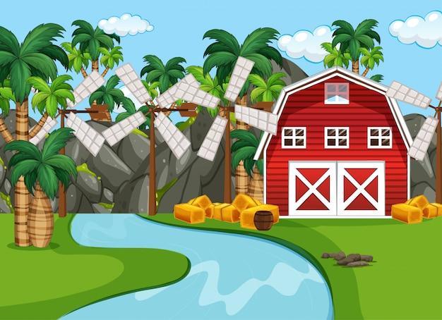 Fazenda em cena da natureza com celeiro e moinho de vento e lado do rio