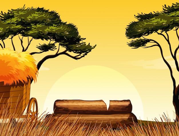 Fazenda em cena da natureza com palha e árvores