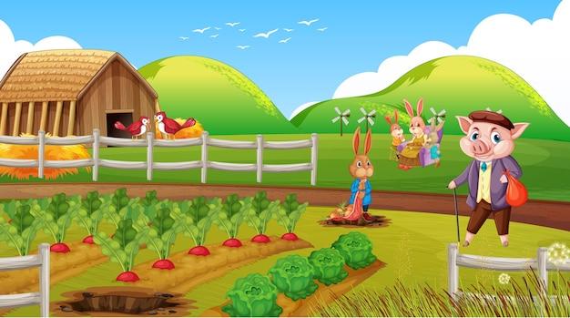 Fazenda em cena diurna com família de coelhos e um porco