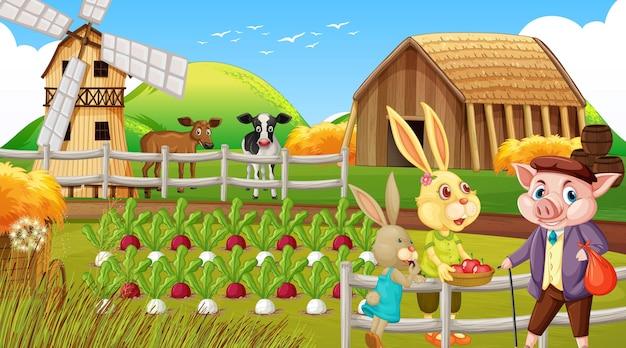Fazenda em cena diurna com uma família de coelhos e um personagem de desenho animado de porco