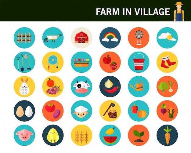 Fazenda em ícones plana de conceito de aldeia.