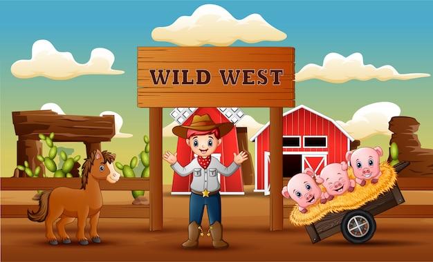 Fazenda fundo de oeste selvagem com vaqueiro e animais