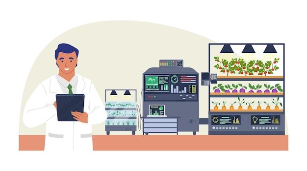 Fazenda inteligente de vegetais, ilustração plana. muito, tecnologia de cultivo inteligente na agricultura.