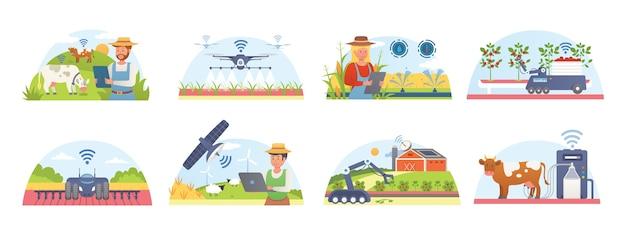 Fazenda inteligente e agricultura com um conjunto de ilustrações isoladas