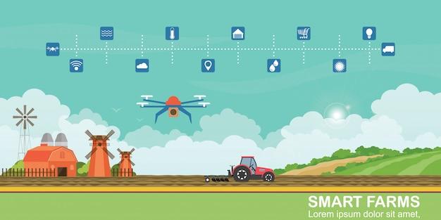 Fazenda inteligente e drones agrícolas para controlar a produção agrícola.