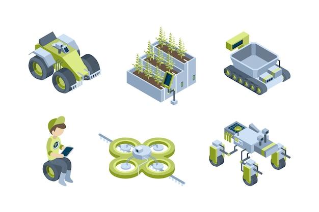 Fazenda inteligente. processos automáticos agrícolas robôs industriais tratores inteligentes colheitadeiras eco estufa vetor isométrico definido. robô de fazenda inteligente, sistema automático para ilustração de jardim