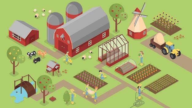 Fazenda isométrica com animais e plantas e colheita.