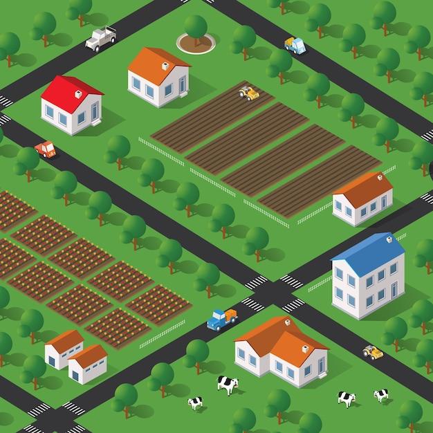 Fazenda isométrica com casas, ruas e edifícios. a vista superior tridimensional de uma paisagem rural