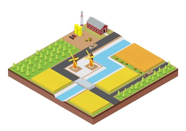 Fazenda isométrica com construção