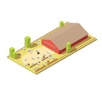 Fazenda isométrica com ovelhas