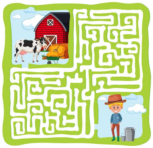 Fazenda labirinto divertido conceito