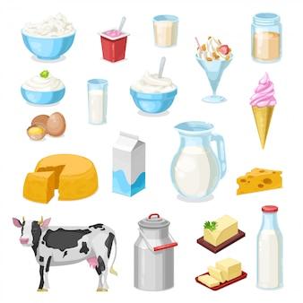 Fazenda leite, queijo e manteiga ícones de laticínios