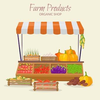 Fazenda mercado frutas loja infográfico elementos. legumes frescos de estilo moderno simples na ilustração.