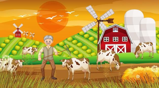 Fazenda na cena do pôr do sol com um velho fazendeiro e animais de fazenda