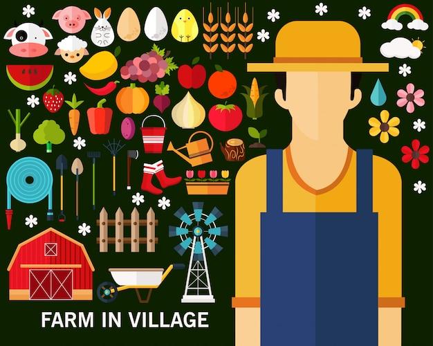 Fazenda no fundo do conceito de aldeia.