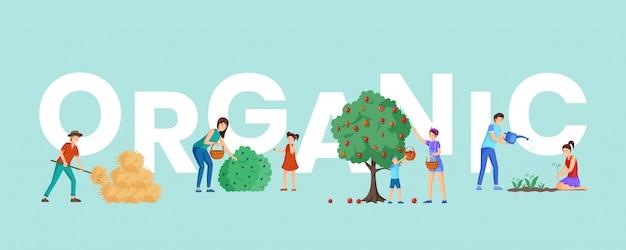 Fazenda orgânica colheita palavra conceito banner.