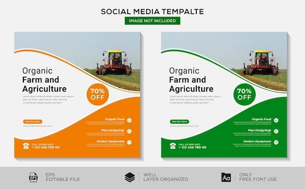 Fazenda orgânica e agricultura, mídia social e design de modelo de banner