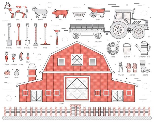Fazenda orgânica em conjunto de aldeia e design de estilo de azulejos de linhas finas