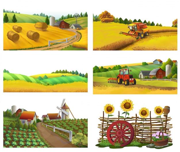 Fazenda, paisagem rural, conjunto de vetores