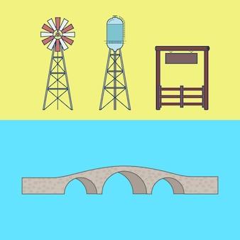 Fazenda rancho entrada campo água torre ponte elemento arquitetura conjunto de edifícios.