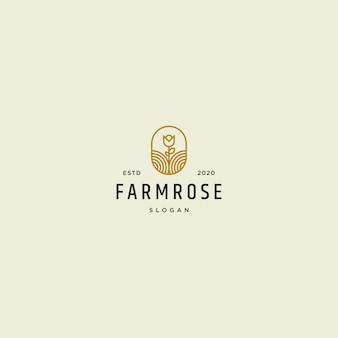 Fazenda rosa logotipo retrô vintage